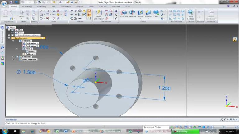műszaki rajz SolidEdge CAD programmmal