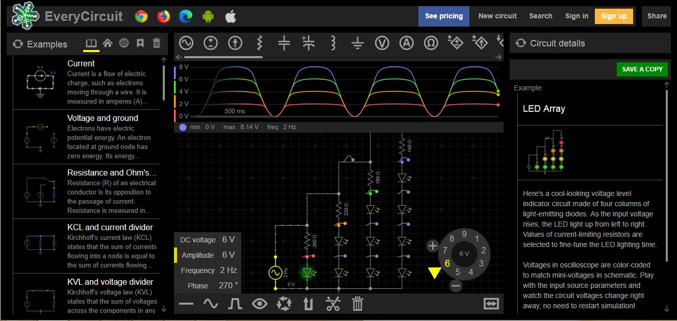 online EveryCircuit áramkör szimulátor