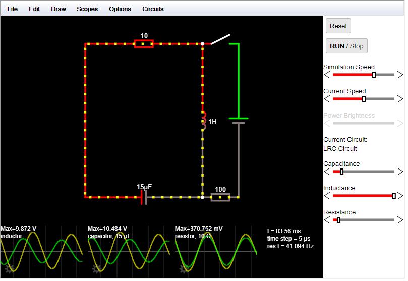 online Falstad áramkör szimulátor