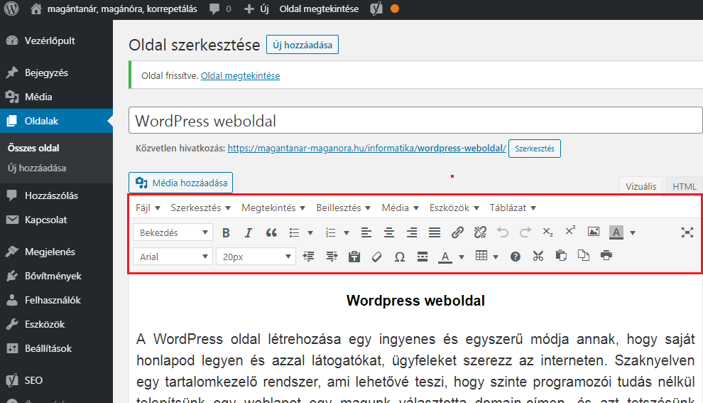 Wordpress weboldal szerkesztő felülete